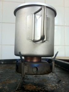 Titanium Triad XE Alcohol / Fuel Tab Stove - MSR Titanium mug used as a cooking pot
