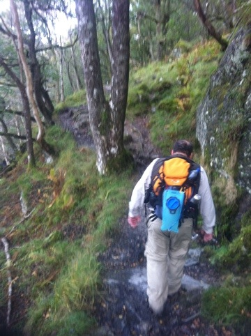 Richard leading me along the banks of Loch Lomond