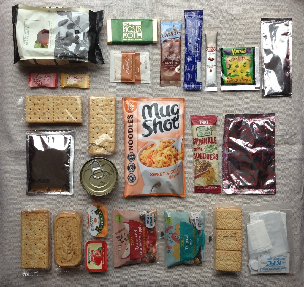 Backpacking food for a weekend - packed