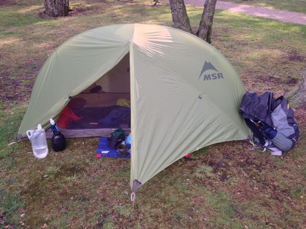 Hiking gear summer 2014 - MSR Hubba backpacking tent, GoLite Jam 2