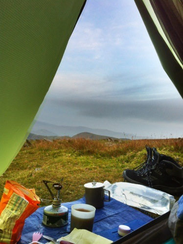 Making camp coffee in my MSR titanium mug on the summit of The Old Man of Coniston
