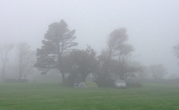 Camping in the Fog - Veryan Camping and Caravan Club Site Cornwall