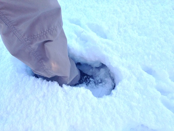My boot sunk in more than a foot of snow
