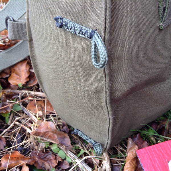 Paracord loops sewn on the gas mask haversack to hold extra gear - Finnish gas mask bag mods