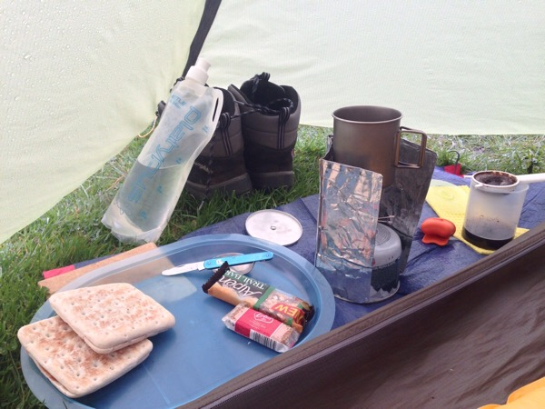 Breakfast in my MSR Hubba Tent, fresh camp coffee, MSR titanium mug with lid, Alpkit Kraku stove