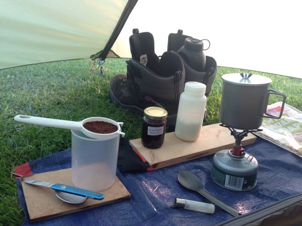 Early morning coffee camping kit - Alpkit Kraku stove - Dunbar