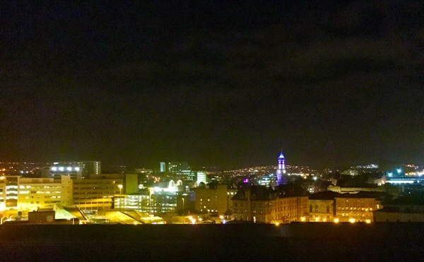 Bradford skyline at night
