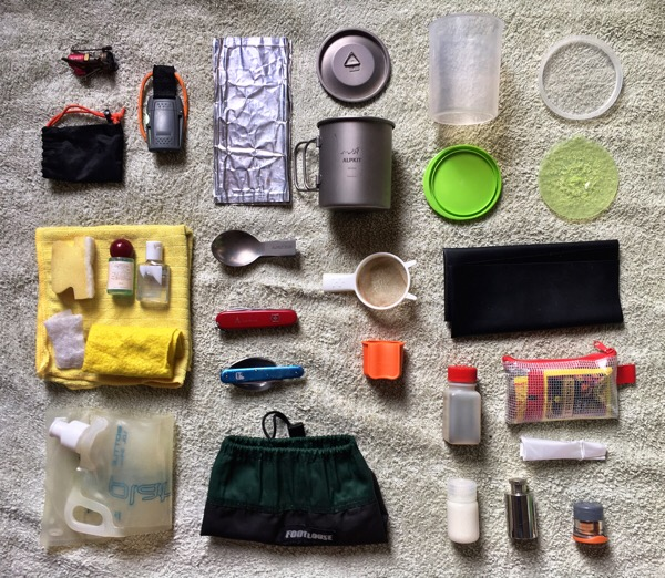 backpacking cooking kit - new Alpkit gear - a titanium mug with a lid and a titanium folding spoon