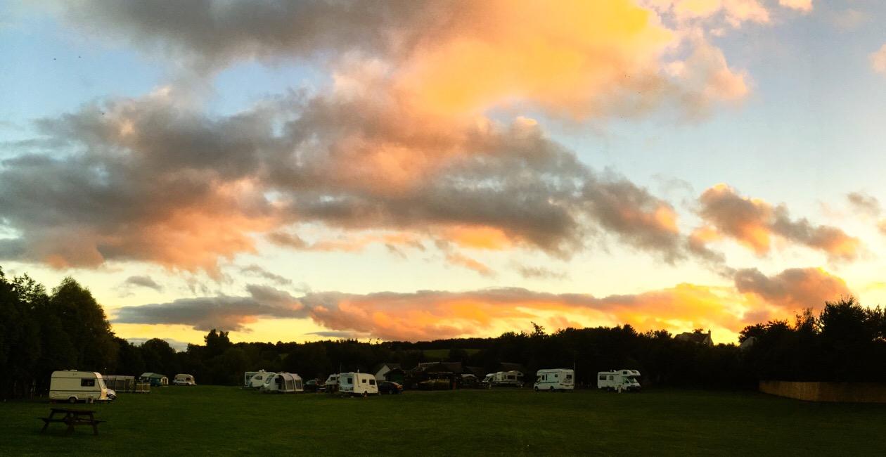Sunset at Lauder Camping and Caravan Club Site