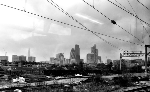 London skyline from the train into Liverpool St