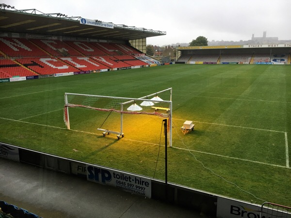 Lincoln City Football Club growing grass in the autumn