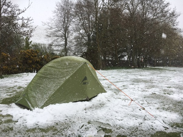 MSR Hubba tent in the snow