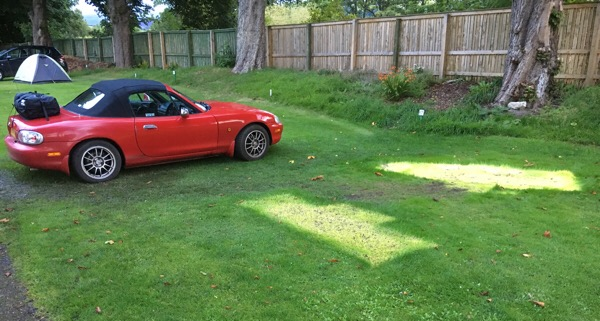 "MX-5 with ""boot bag"" - Dingwall Campsite"