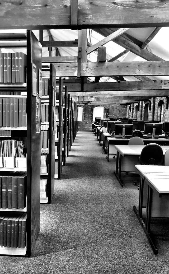 First person in the library